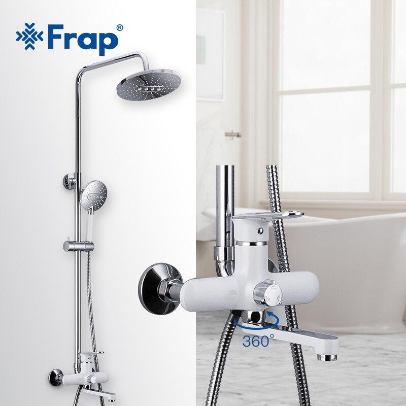 Frap Bathroom Faucet White Shower Faucet Rainfall Shower Wall Mounted Bathtub Shower Mixer Tap Shower Faucet Shower Set F2449