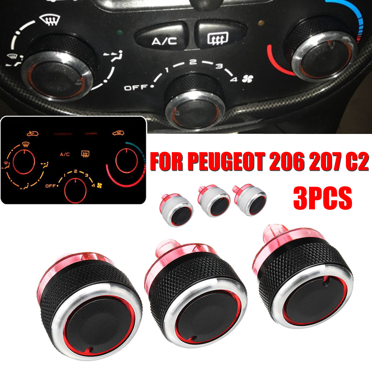 Voor Peugeot 206 207 C2 Switch Knoppen A/C Heater Controle Knop Airconditioning Knop Auto Accessoires