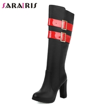 SARAIRIS 2019 Hot Sale Dropship Chunky High Heels Knee Boots Woman Shoes Zip Up Black Autumn Female