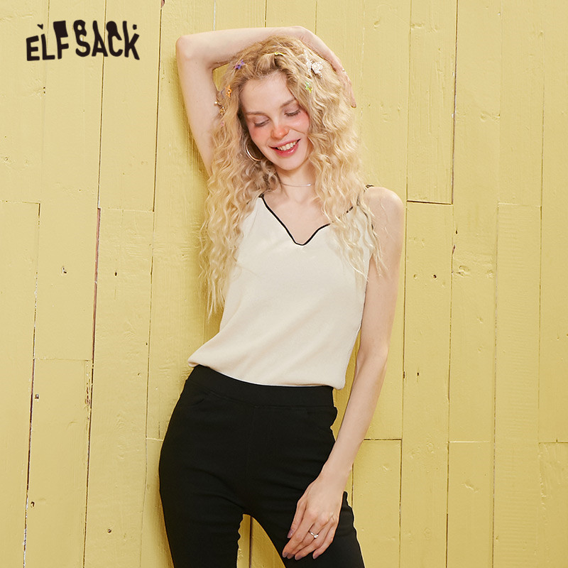 ELFSACK Black Solid Minimalist Strappy Knit Sling Women Tank 2020 Spring Beige Pure New Sleeveless Sexy Ladies V Neck Camis Tops