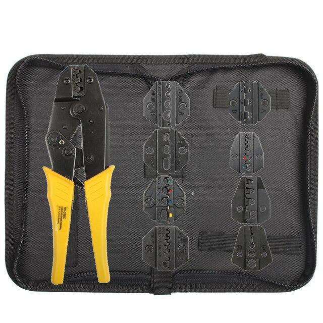 Pince à sertir HS-03BC 8 mâchoires pour fiche tube isolation pas disolation capuchon de sertissage câble coaxial bornes kit 230mm pince outils