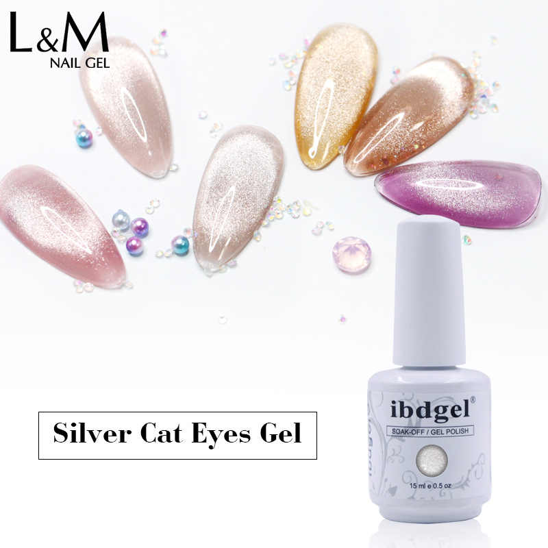 Ibdgel Spar Cat Eye Gel Polish Magnet Silve Emas Crystal Cat Eye Uv Nail Gel Warna Dasar Yang Dibutuhkan Glitter Gel polandia Pernis 15Ml