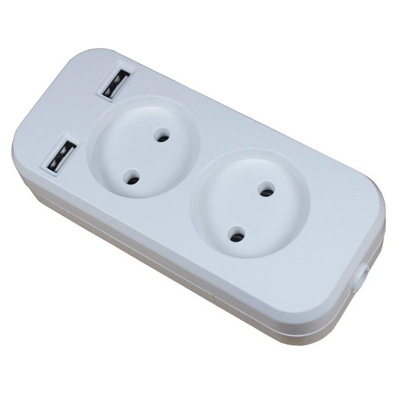 Power Strip 2 EU Plug 1200W 250V 5V 2A Wall Multiple Socket Portable 2 USB Port for Mobile Phones for Smartphones Tablets F 01 6