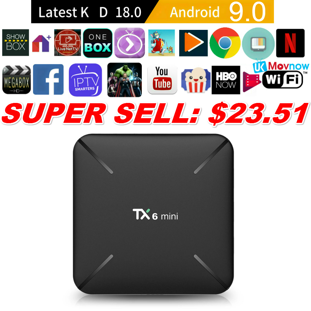 T tv BOX Android 9,0 tv Box TX6 Мини Android Smart tv Box 2 Гб 16 Гб USB 3,0 2,4G 5G Wi Fi 3D 4K Full HD H.265 100M Ethernet