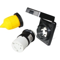 Top Rv 30A Power Inlet Plug Female Twist Locking Connector Black 125V Ac Inlet W/Weatherpoof Cover Boot Kit