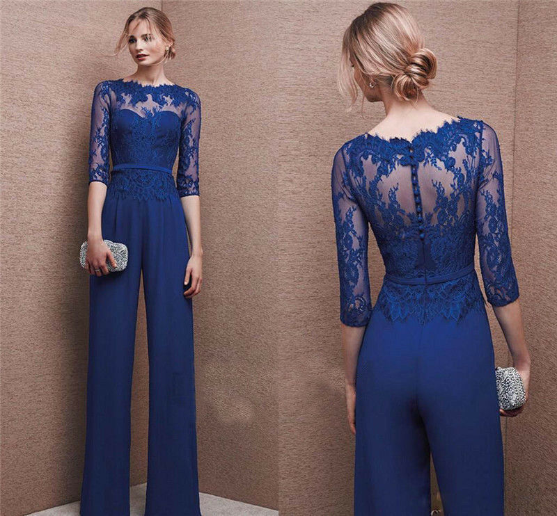 Blue Jumpsuit Mother Of The Bride Dresses Jewel Neckline Half Sleeve Lace Formal Party Dress Elegant Groom Mom Gowns 2019 Beach