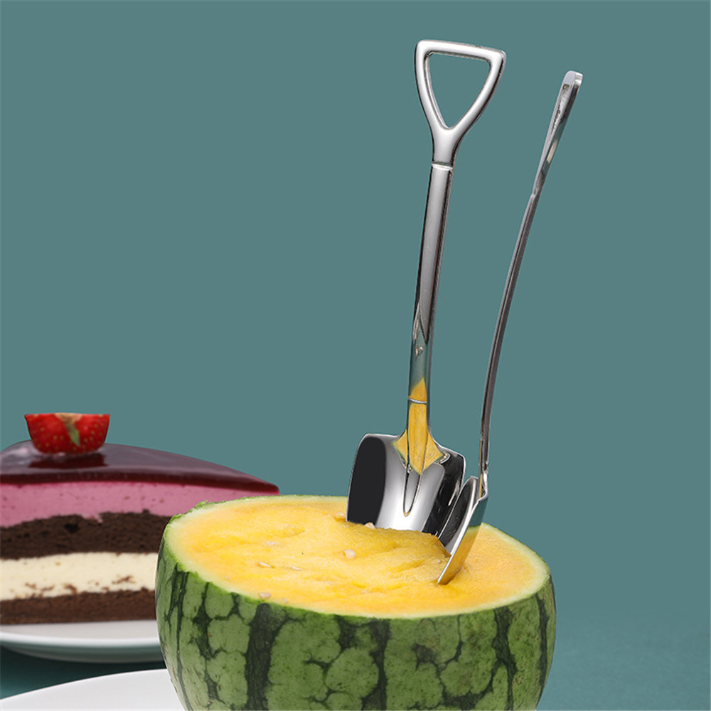 Stainless Steel Iron Shovel Spoon Coffee Ice Cream Spoon Shovel  Multifunctional Cute Square Head Spoon Kitchen Accessories