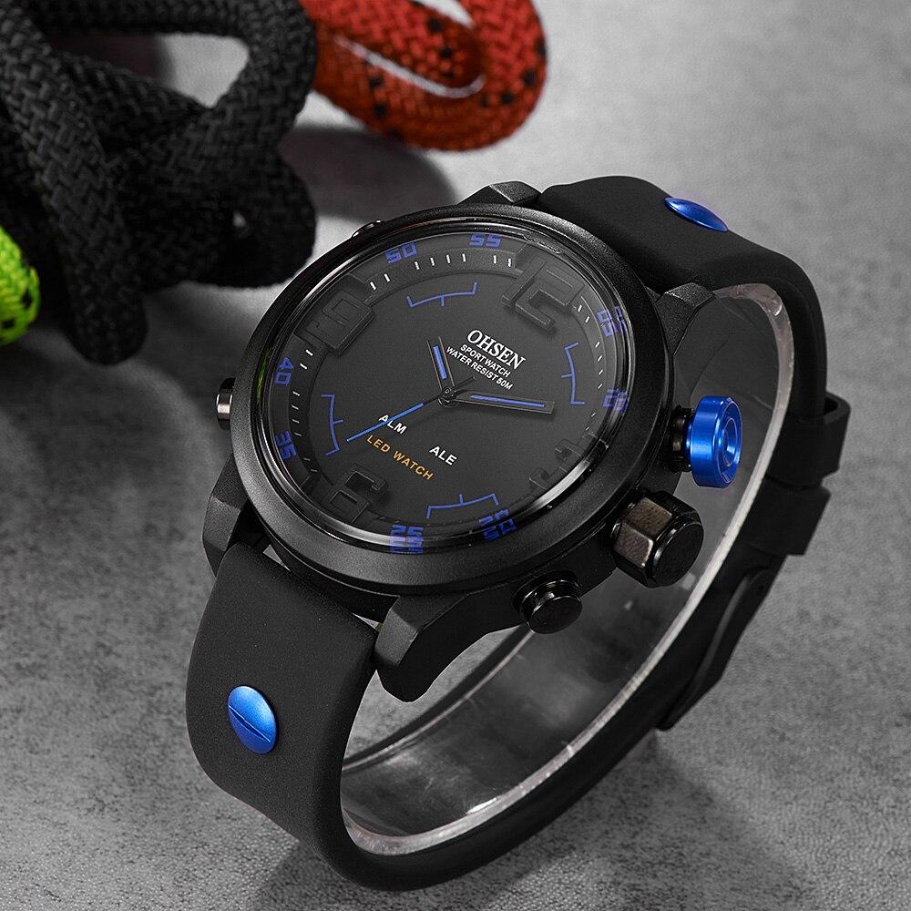 Esporte ao ar Relógios de Pulso Bar à Prova Ohsen Moda Livre Relógio Masculino Multifunction 5 Dwaterproof Água Azul Militar Digital