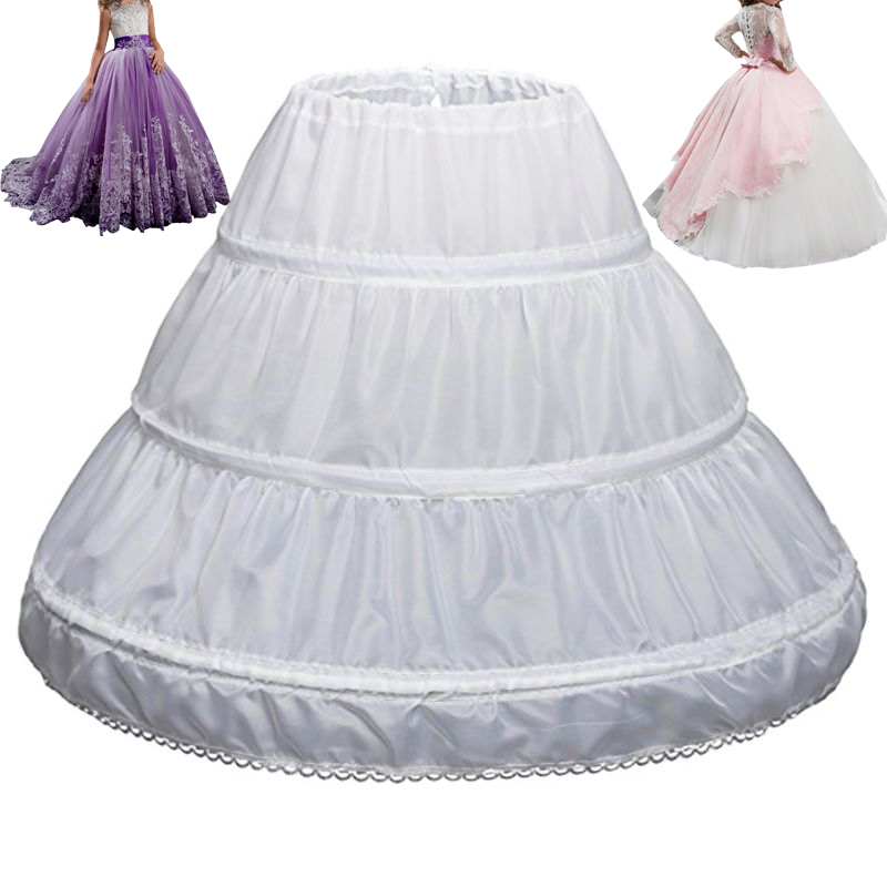 Wedding Underskirt Girl Children Petticoat 3 Hoops One Layer Kids Crinoline Lace Trim Flower Girl Dress Vestido De Noiva