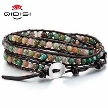 Pulseira de couro genuíno pulseira de punho corda para as mulheres meninos crianças 4mm contas trançadas 3 envoltórios pedra artesanal jóias presente
