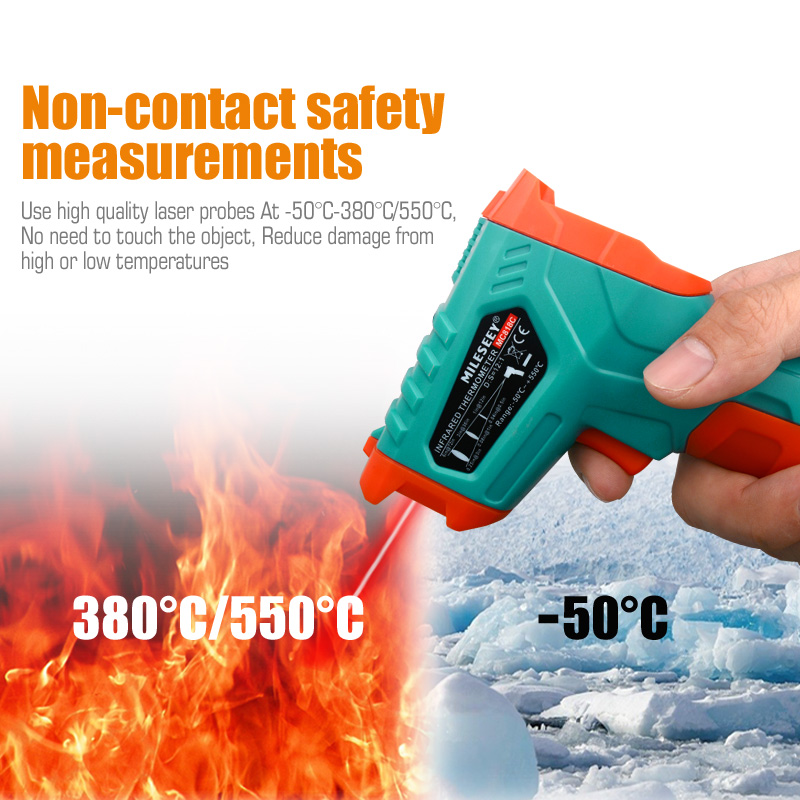 Image 5 - Mileseey Non contact digital temperature thermometer LCD Display  laser digital thermometer IR digital infrared thermometerTemperature  Instruments   -