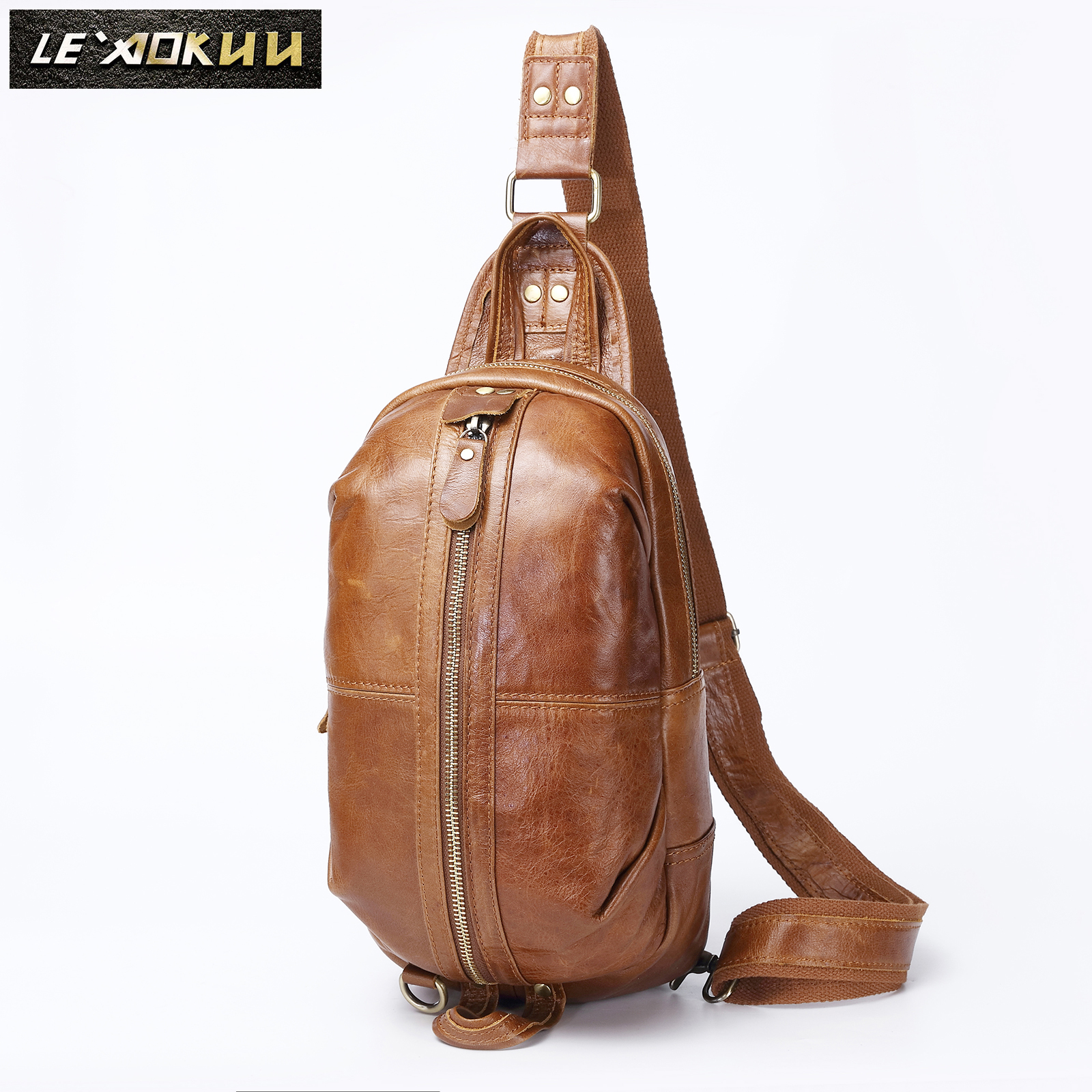 Men Original Oil Wax Leather Casual Fashion Crossbody Chest Sling Bag Design Travel One Shoulder Bag Daypack Male 1186
