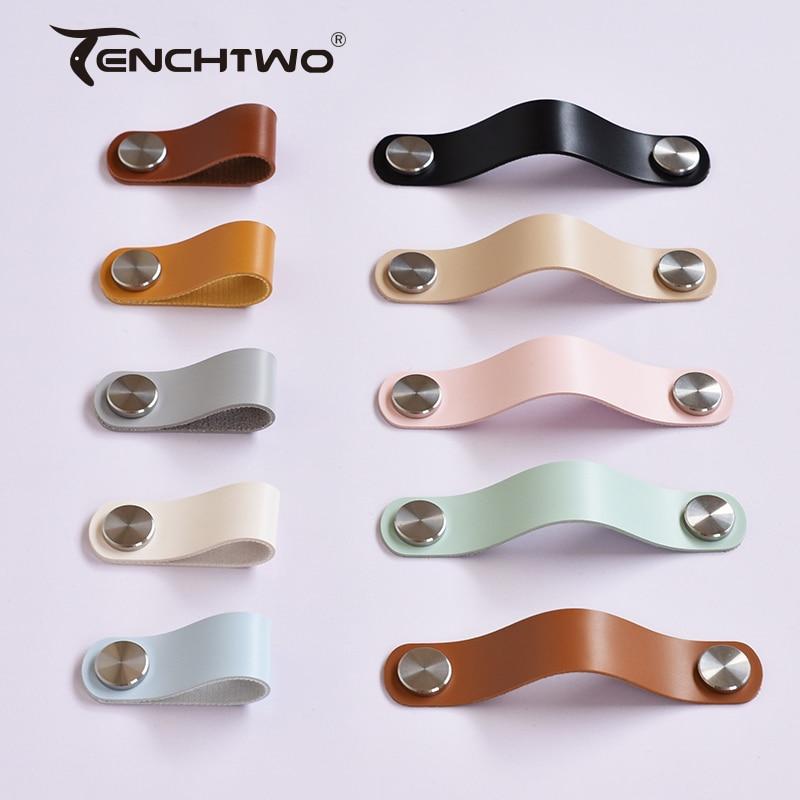 Tenchtwo estilo moderno móveis puxadores de gaveta armário de cozinha alças porta puxa preto/prata bronze couro artificial