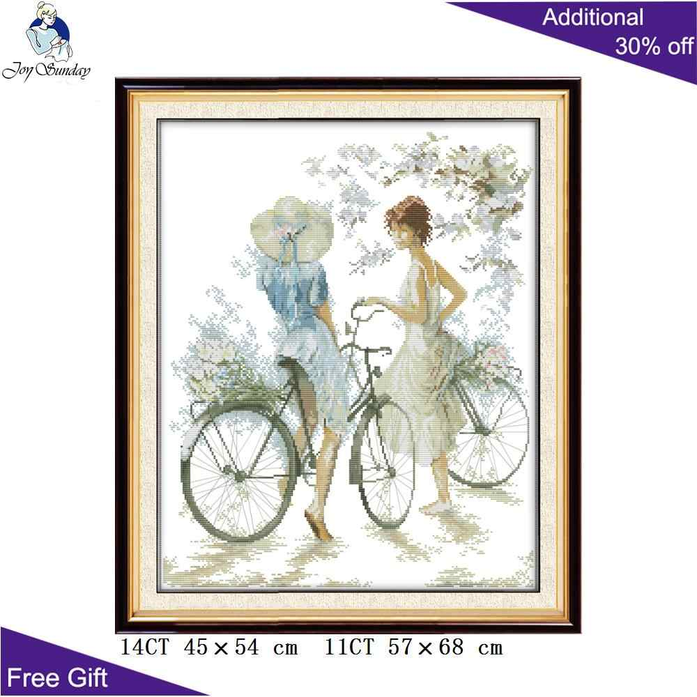 Joy Sunday Bicycle girl Cross Stitch RA056 14CT 11CT Counted and Stamped Home Decoration Bicycle girl Cross Stitch Kits