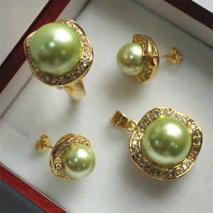 Image 2 - FYS004 Multi color Choices White green  AAAA CZ White  South Sea Shell Pearl Ring Pendant Earring Jewelry Set