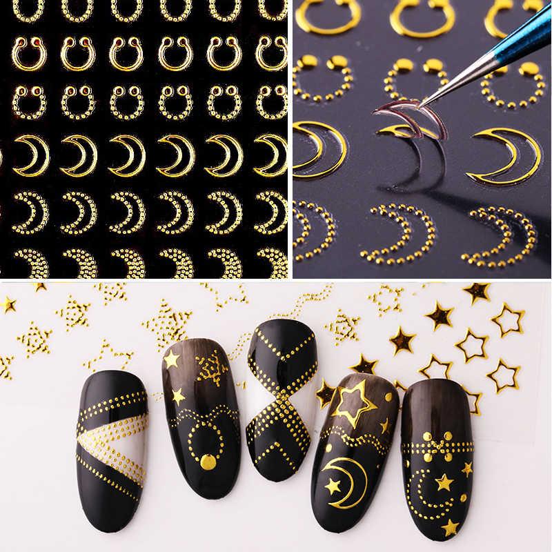 1 Lembar Stiker Kuku Emas Perak Garis Garis 3D Logam Strip Pita Multi Ukuran Perekat Dekorasi Kuku Stiker DIY stiker Kuku