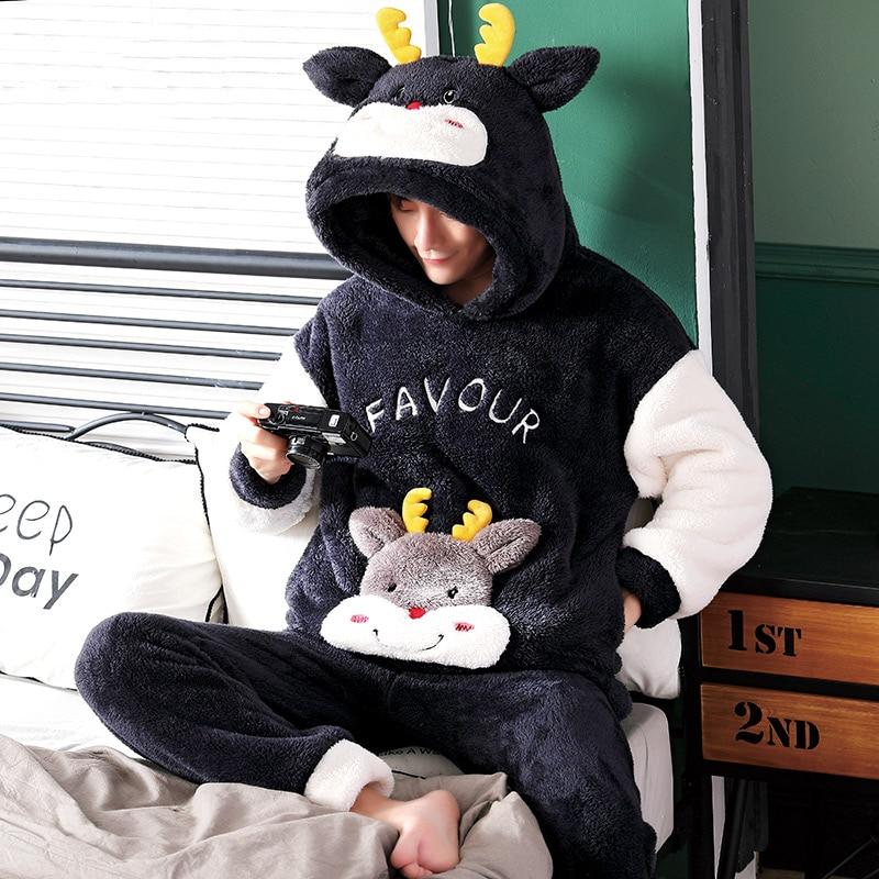 Pajamas For Men Sleepwear Men's Flannel Cartoon Winter Funny Thickened Sleep Suit Pajama Set Male Mens Pyjamas Warm Nightwear