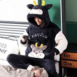 pajamas for men sleepwear mens flannel cartoon winter funny thickened sleep suit pajama set male mens pyjamas warm nightwear