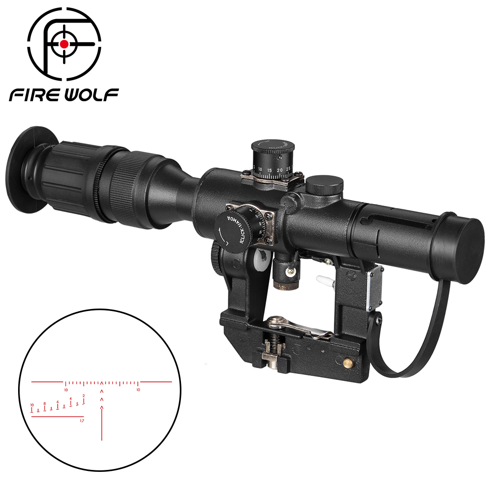 Tactical Svd Dragunov 4x26 Red Illuminated Scope For Hunting Rifle Scope Shooting Ak Scope Red Dot Hunting Optics Hunting Laser
