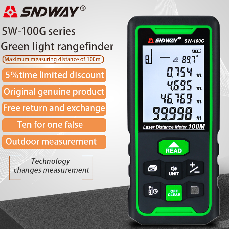 Лазерный дальномер SNDWAY с зеленой линией, цифровой дальномер, Лазерная Лента, линейка, датчик, лазерный дальномер