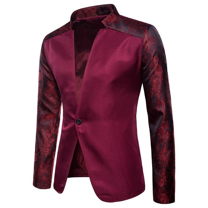 CYSINCOSMen однотонный пиджак 2019 новый тонкий однобортный пиджак на одной пуговице смокинг-пиджак сценические костюмы