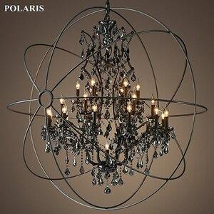Image 1 - Candelabro de cristal de humo, iluminación Vintage, candelabros de vela negra Orb, luz colgante