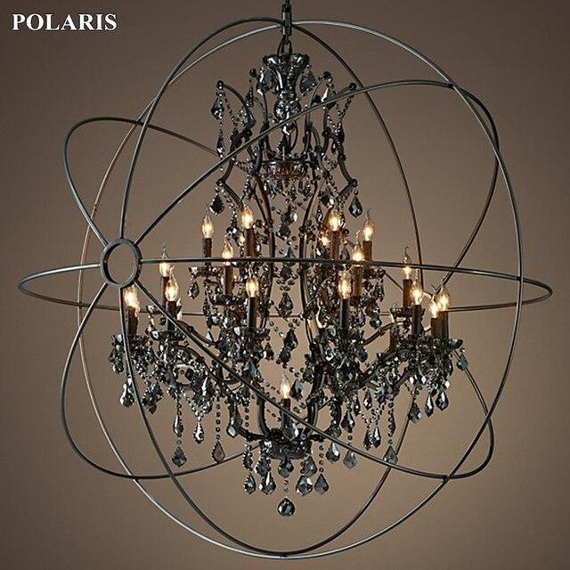 Candelabro de cristal de humo, iluminación Vintage, candelabros de vela negra Orb, luz colgante