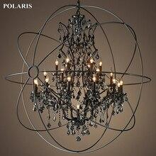 Vintage dym kryształowy żyrandol Orb czarny świeca żyrandole wisiorek wisząca lampa