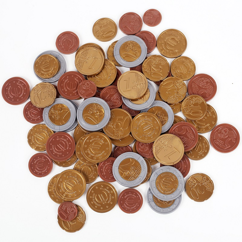 SET OF 80 plastic EURO COINS / play money NEW maths school Learning Resourc 1/2/5/10/20/<font><b>50</b></font> cent & euro 1/2 image