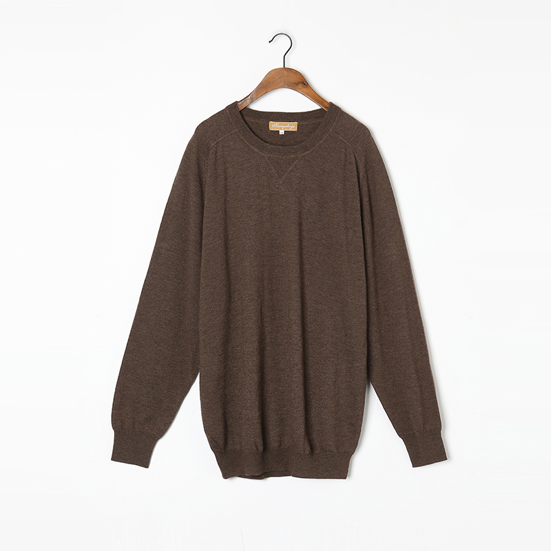 Worsted Yarn 100%Cashmere Sweater Men Thin Pullover Natural Fabric High Quality Coffee Brown Pure Cashmere Sweaters Man