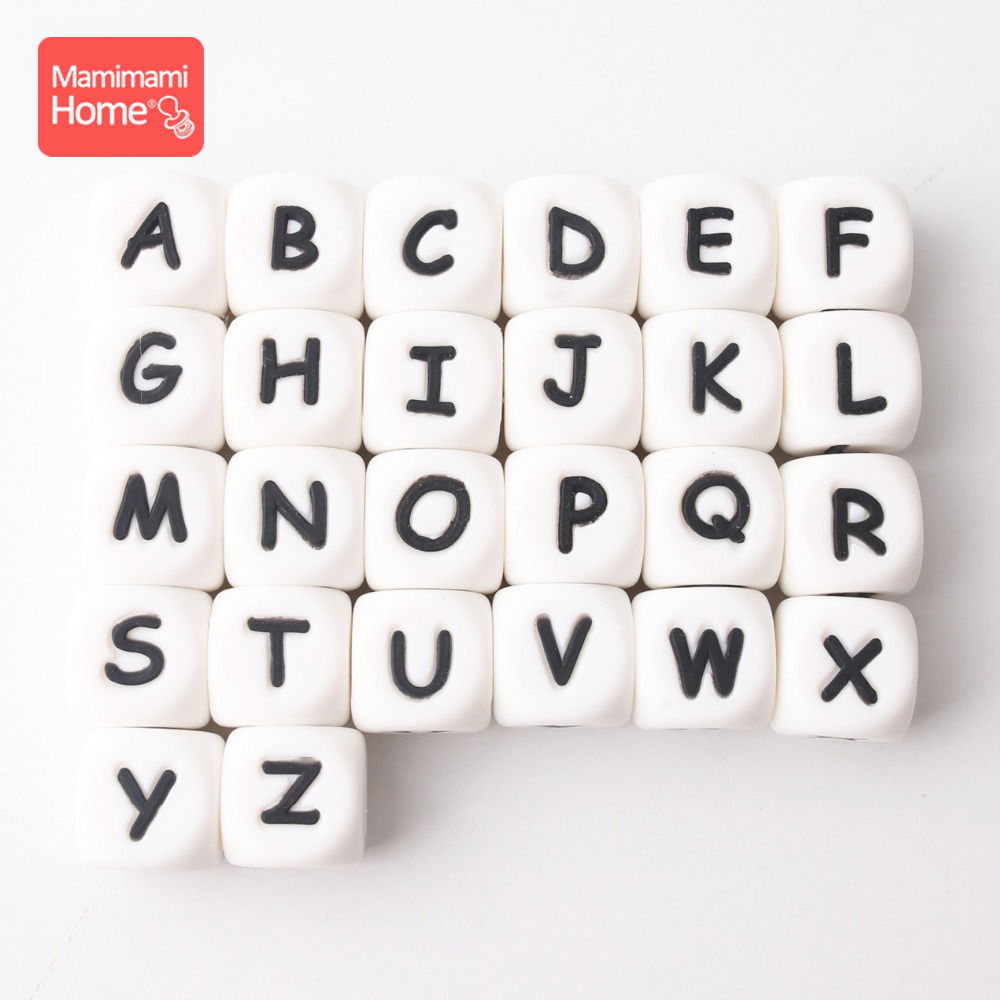 Mamihome 100pc Silicone Letter Beads English Food Grade Silicone Beads Teething  DIY Nursing Necklace Gifts Children'S Goods Toy