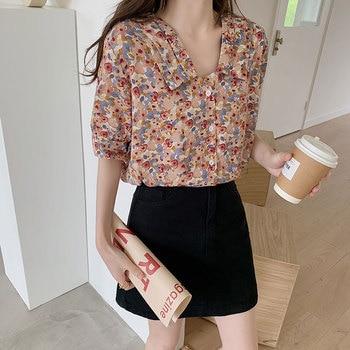 2020 nuevo estilo coreano de cuello vuelto Camisa de gasa Floral femenina de manga corta holgado Retro camisa femenina