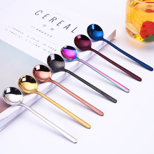 Hot Sale Stainless Steel Spoons Round Head Handle Spoon Colorful Flatware Drinking Tools Kitchen Gadget Coffee Fruit Teaspoon