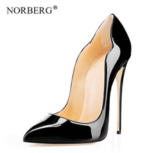 цена на NORBERG Women's High Heels Wedding Shoes Heel Woman Purps Sexy Zapatos Mujer Tacon Black Red Women's High Heels Shoes Party