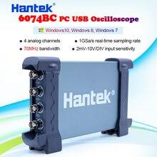 Hantek osciloscópio de armazenamento digital, 6074bc pc usb 4 canais digitais 70mhz de largura de banda 1gsa/s 2mv-10 sensibilidade de entrada v/div