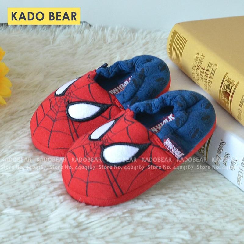 Cartoon Spiderman Children Winter Warm Slippers Kids Boy Cotton Fur Plush Indoor Home Embroidery Shoes Baby Girl Cute Flip Flops
