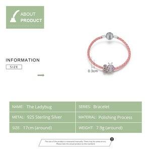 Image 4 - 2019 Mulheres Pulseiras BISAER 925 Joaninha Prata Corda Vermelha Pulseiras de Prata Esterlina para Mulheres Sterling Silver Jewelry ECB823
