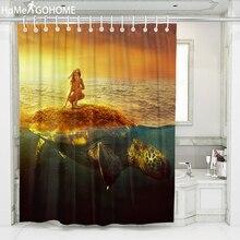 Naked Girl Beauty Turtle Shower Curtain 3D Print Bathroom Curtain Sunshine Sea Landscape Home Decor Waterproof Bath Curtains stylish dancing ladies print shower curtain bathroom decor