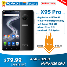 DOOGEE X95 Pro Helio A20 4GB+32GB Cellphones 6.52''Screen 13MP Triple Camera Smartphone 4350mAh Android10 OS 4G LTE Mobile Phone