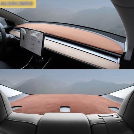 High Quality Flannel Dash Mat Dashboard Cover For Tesla Model 3 2018 2019 Pad Sun Shade Dash Board Cover Carpet Car Accessories