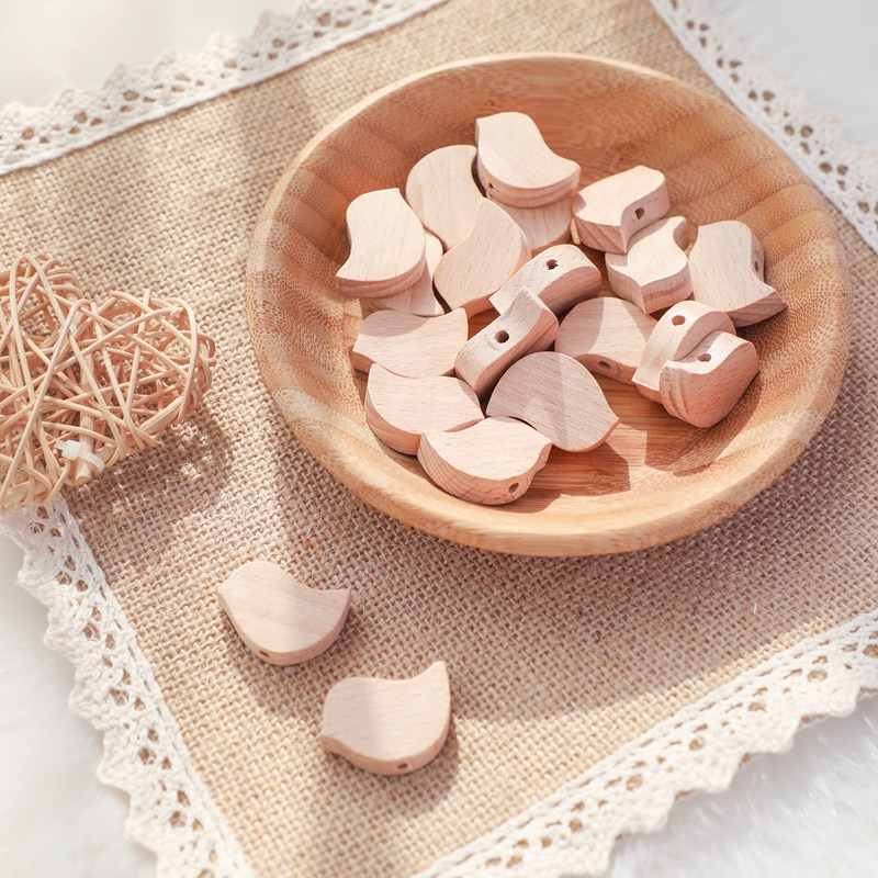 5/10pcs Natural Beech Wooden Beading Beads for Baby Teethers Heart DIY Necklace Pacifier Chain Crafts Jewelry Children Product