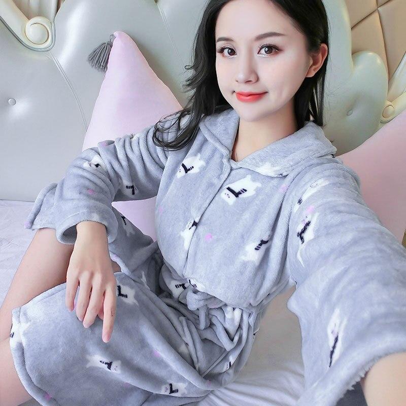 1304 # Gray Bear Flannel One-Piece Robe Female Winter Thick Cardigan Pajamas Women's Home Wear