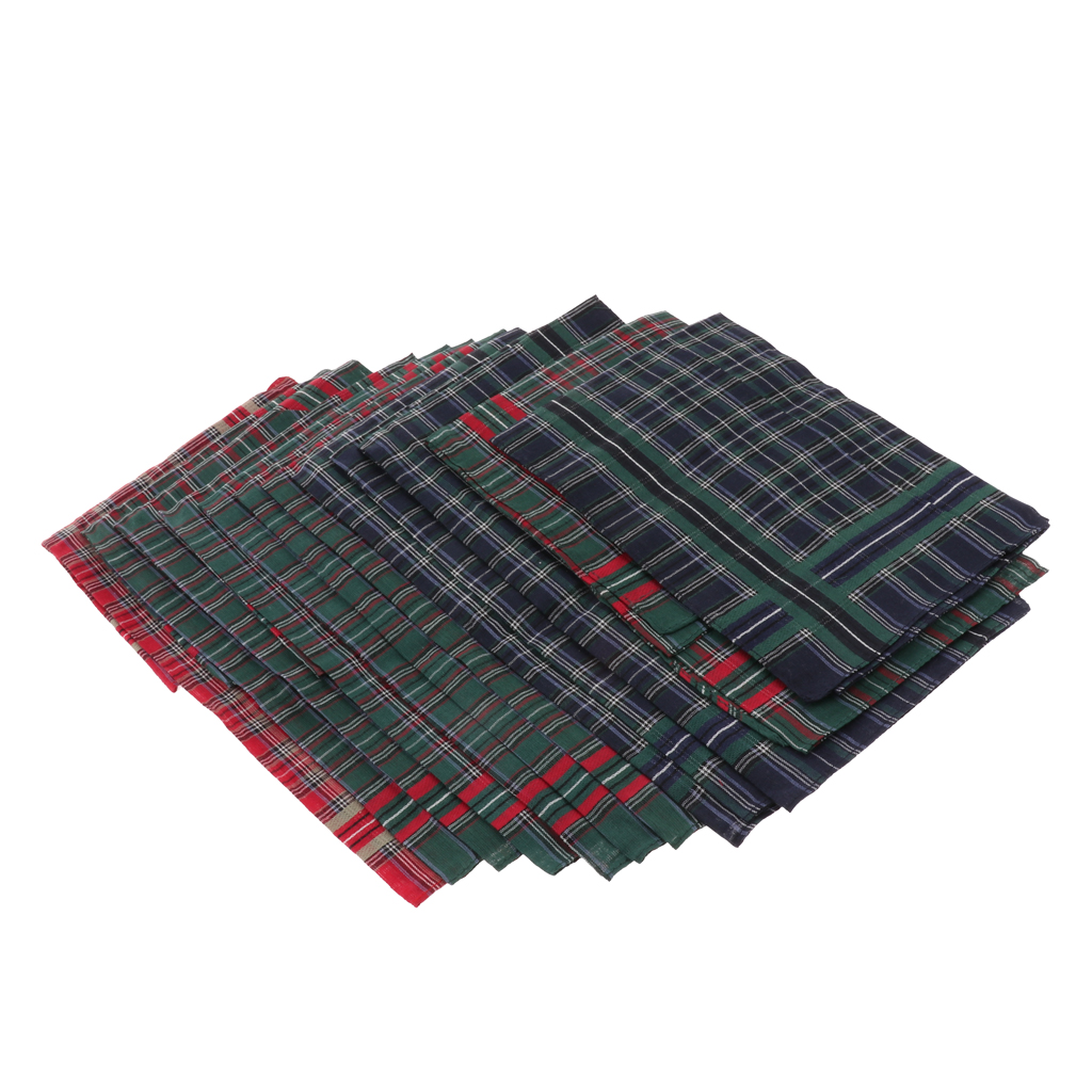 Pack Of 12pcs Classic Men Plaid Pure Cotton Pocket Square Handkerchief Dark Green Red Plaid Wedding Hanky