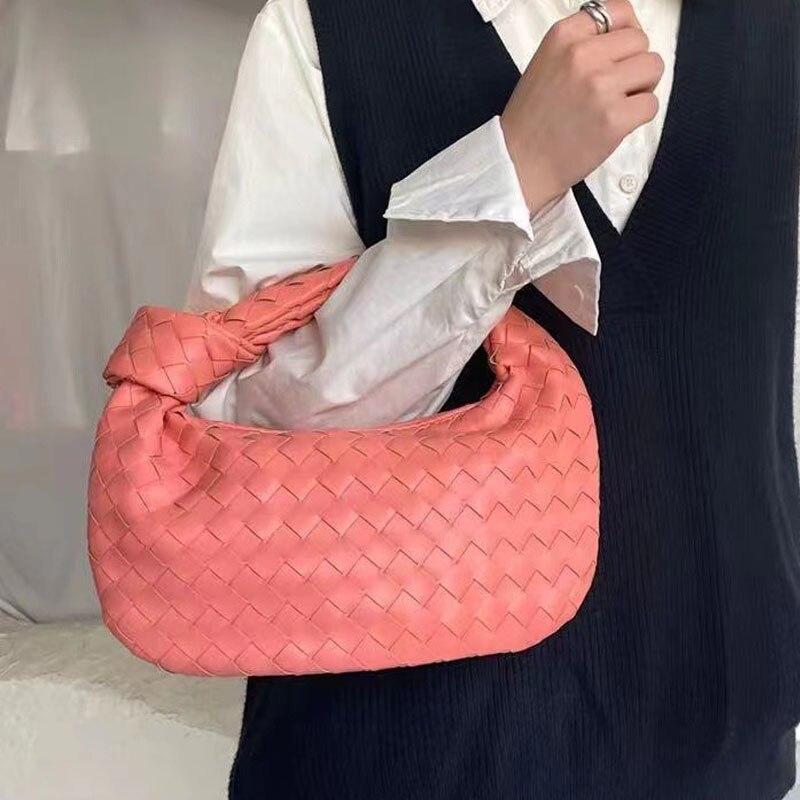 2021 Fashion Handmade Woven Bag Luxury Woven Leather Printed Shoulder Bag Lady Crossbody Hobo PU Knotted Handle Casual Handbag