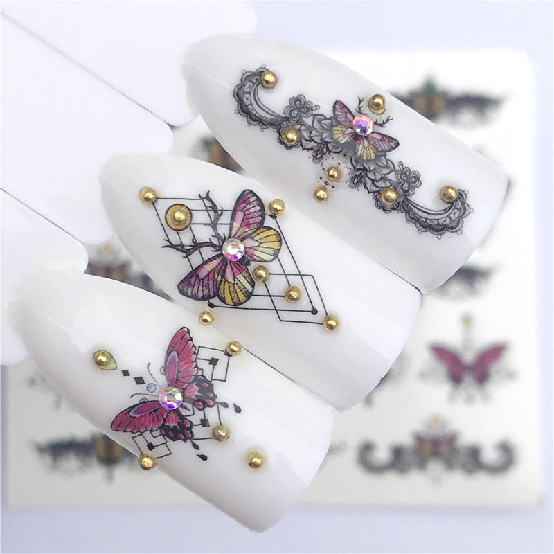 1 PC Flowers /Easter / Butterfly / Necklace  For Nail Art Watermark Tattoo Nail Sticker Water Transfer Decals Decoration