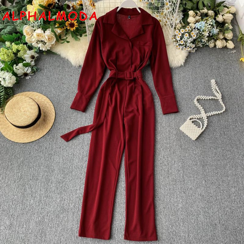 ALPHALMODA 2019 Fall Autumn New Long Sleeve Turn-down Collar Women Casual Jumpsuit Waist Belt Slim Fit Ladies Solid Rompers