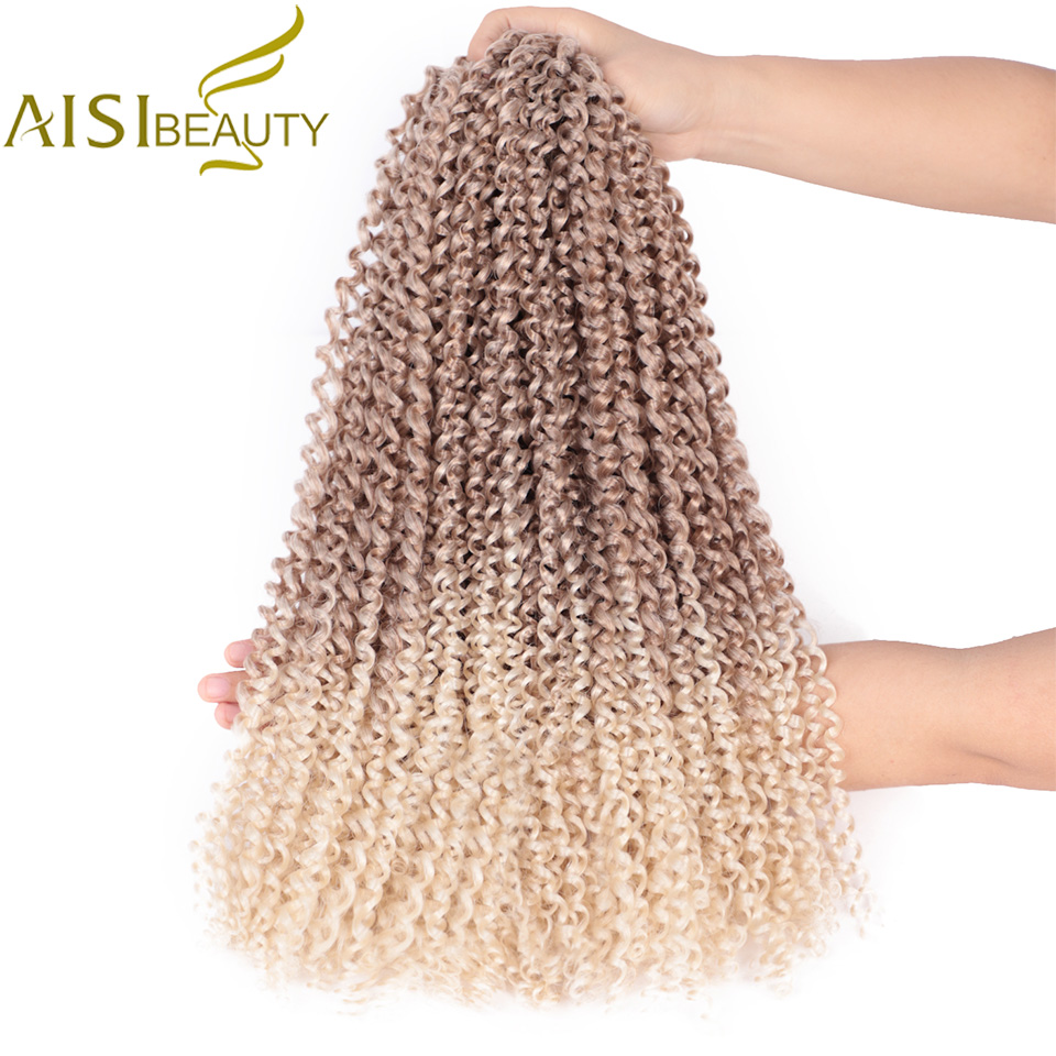 Passion Twist Hair Ombre Blonde Water Wave Bohemian Braid Freetress 18inch Crochet Braiding Synthetic Hair Extension AISI BEAUTY