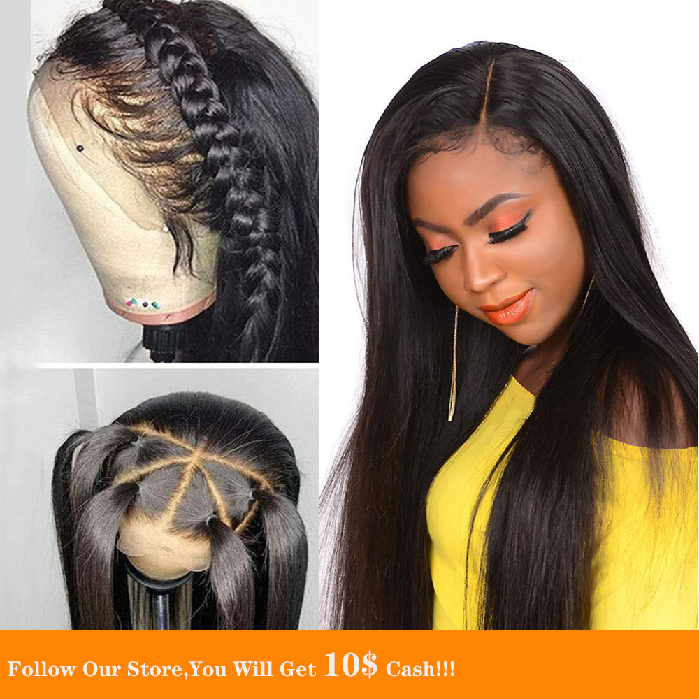 30 Inch 13X6 Braided Lace Front Wig Long Silky Straight Black Peruvian Preplucked Human Hair Wig Gop Chang Band With Baby Hair
