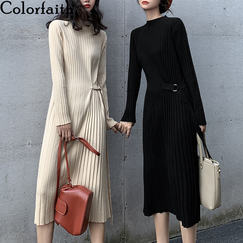 Colorfaith New 2020 Spring Winter Women Dress Loose Knitting High Waist Bottoming Elasticity Lace Up Pleated Long Dress DR4818