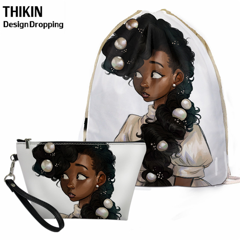 THIKIN New Aftro Lady Black African Girl Print Women Drawstring Bag Causal Women 2pcs-set Comestic Case Travel Stroage Kids Bag